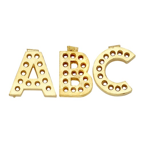 14k Yellow Gold Block Initial For Diamond Setting P