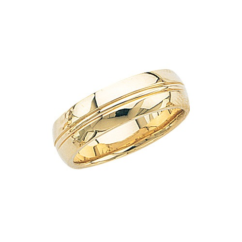 14k Yellow Gold Wedding Band W High Polish & Milgrain Center 7 Mm 7½