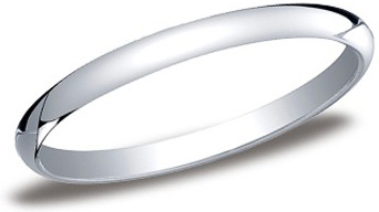 Platinum Half Round Band 2mm: Size 10.0