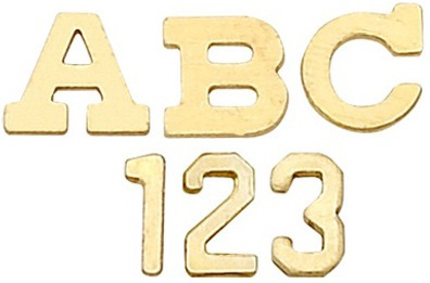 14k Yellow Block Initial: 3.20 mm x 3.69 mm x 0.36 mm