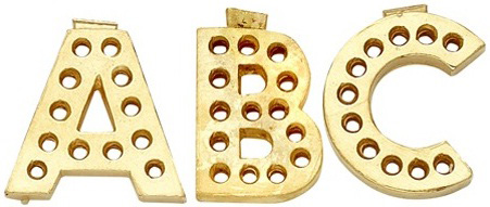 14k Yellow Gold Block Initial for Diamond Setting: 13.0 mm x 9.38 mm, 15 x 0.02 Ct Stone Size