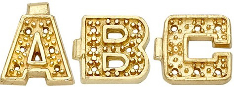 14k Yellow Block Initial with 0.005ct: 7.0 mm x 7.5 mm, 6 x 0.005ct Stone Size