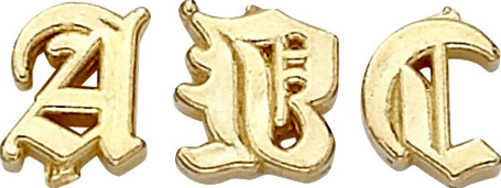 14k Yellow Old English Initial: 4.49 mm x 3.04 mm