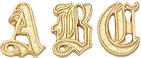 14k Yellow 6.25mm Old English Initial: 6.58 mm x 4.44 mm