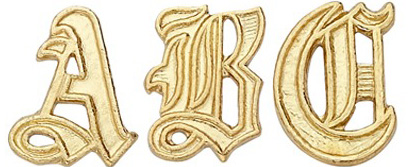 14k Yellow Old English Initial: 9.8 mm x 6.51 mm
