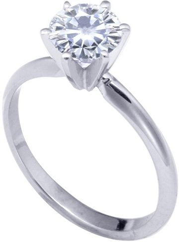 14k White 6-Prongs Moissanite Engagement Solitaire: 1.00ct/6.5mm, Size 4