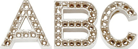14k White Gold Block Initial for Diamond Setting: R, 14.45mm x 12.87mm