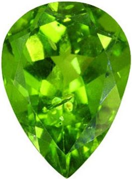 Pear Shape Synthetic Peridot: 10.0mm x 7.0mm, 2.00cts