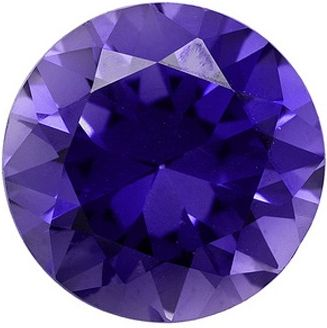 Round Synthetic Tanzanite: 10.0mm, 3.50cts