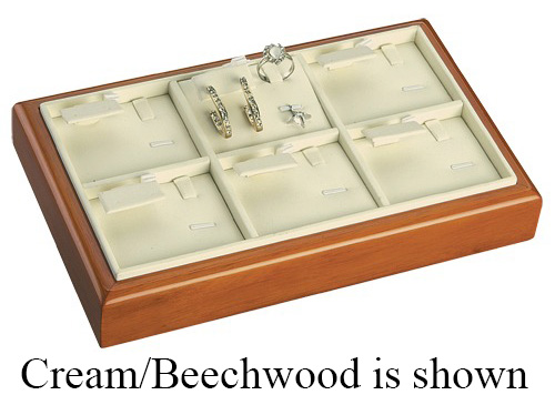 6-Set Ring, Earring & Pendant Tray: Black/Beechwood