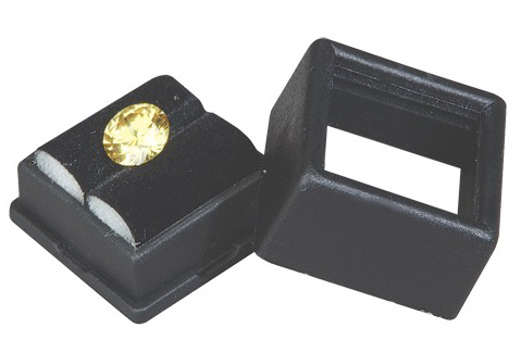 "Black Glass Top Gem Box: 1"" x 1"""