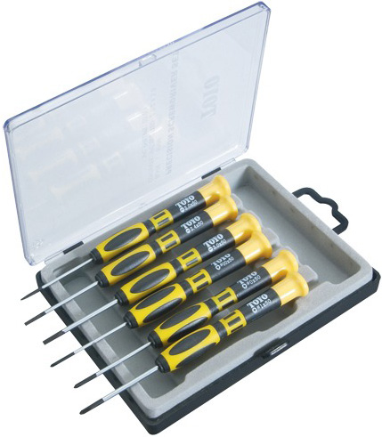 "Screwdriver in Box: Set of 6, 3 Pieces Flat and 3 Pieces Philips Head, 5.75"" Length"