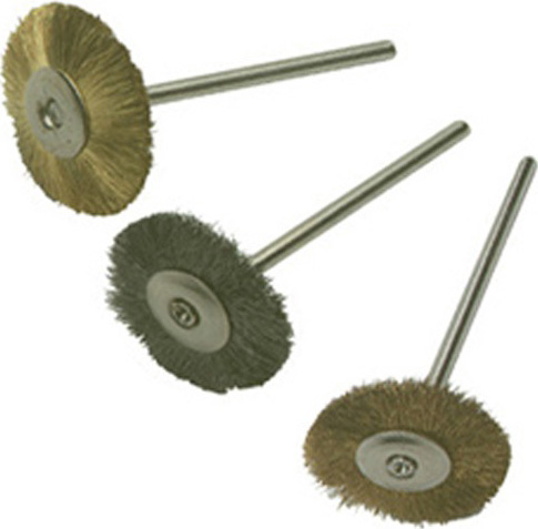 "Mounted Metal Wheels: 3/4"" Diameter, Crimped Steel Wire, Pack of 6"