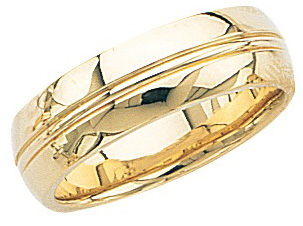 14k Yellow Gold Wedding Band with High Polish & Milgrain Center 7mm: Size 8.5