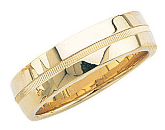 14k Yellow Gold Wedding Band with High Polish & Milgrain Center 6mm: Size 5.5