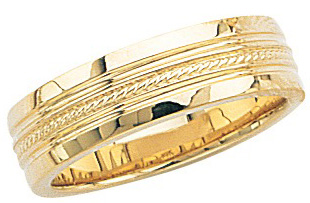 14k Yellow Gold Wedding Band with High Polish & Double Milgrain Center 7mm: Size 5.5