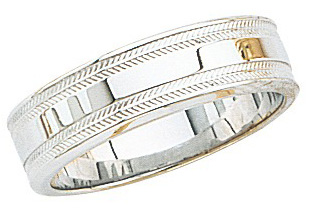 14k White Gold Wedding Band with Shiny Center & Milgrain Sides 6mm: Size 7.5