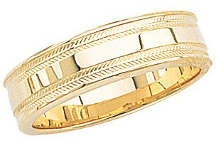 14k Yellow Gold Wedding Band with Shiny Center & Milgrain Sides 6mm: Size 9