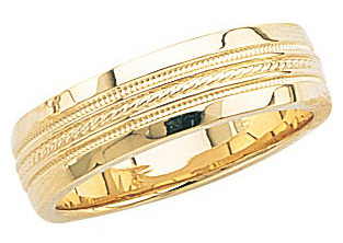 14k Yellow Gold Wedding Band with High Polish & Double Milgrain Center 7mm: Size 6
