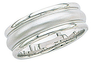 14k White Gold Wedding Band with Brush Raised Center 7mm: Size 9.0