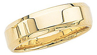 14k Yellow Gold Wedding Band with Beveled Edges 6mm: Size 10.5