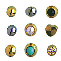 24k Gold-Plated Stainless Surgical Steel Ear Piercing: Black Onyx, Pack of 12 Pairs