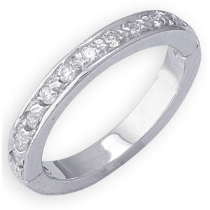 14k White Gold Eternity Diamond Toe Ring: Size 3.75