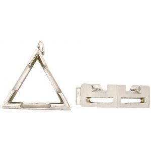 14k White V-End Triangle Setting with Airline: Size 6.0mm x 6.0mm