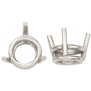 14k White 3-Prong Double Wire Round Setting: 2.50mm