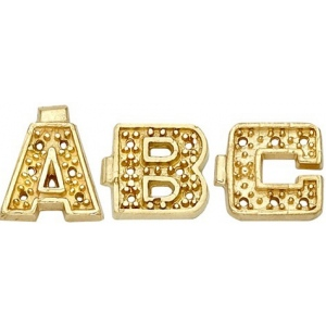 14k Yellow Block Initial with 0.005ct: 7.0 mm x 5.70 mm