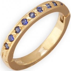 14k Yellow Gold Blue Sapphire Toe Ring: Size 3.25