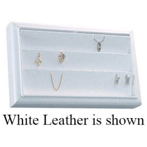 3-Row Earring/Pendant Tray: Off-White Leather