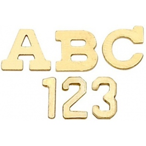 14k Yellow Block Initial: 3.20 mm x 3.08 mm x 0.36 mm