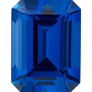 Emerald Cut Synthetic Sapphire: 16.0mm x 12.0mm
