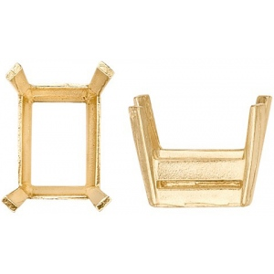 14k Yellow, Emerald Cut Double Wire with Flat Prongs: Size 9.0mm x 7.0mm