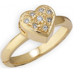 14k Yellow Gold Heart Shape Toe Ring with Diamond: Size 4.25