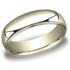 14k Yellow 6.0mm Milgrain Comfort Fit Band: Size 8.5