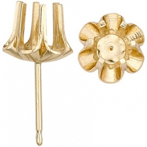 14K Yellow Round 6 Prong Buttercup Friction Post Earring: 0.02 Ct. Size