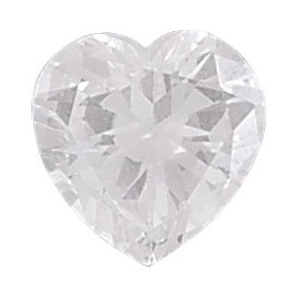 AAA Rated Heart Shape Cubic Zirconia: 6.0mm, 0.75cts