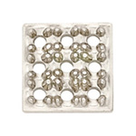 14K White Square Cluster: 9 x 0.05-0.06 Stone Size, 9.0 mm x 9.0 mm Outside Dimensions