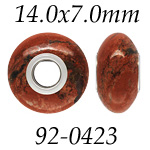 Red Jasper Bead with 5mm Grommets: 14.0 mm x 7.0 mm Size