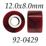 Synthetic Red Jasper: 12.0 mm x 8.0 mm Size, Wheel Bead