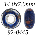 Midnight Blue Glass Bead with Grommets: 14.0 mm x 7.0 mm Size