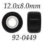 Black Glass Bead with Grommets: 12.0 mm x 8.0 mm Size, Wheel Bead