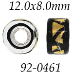 Gold & Black Glass Wheel Bead with Grommets: 12.0 mm x 8.0 mm Size