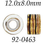Gold & Brown Glass Bead with Grommets: 12.0 mm x 8.0 mm Size, Wheel Bead