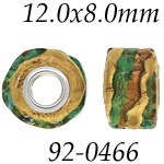 Gold & Green Glass Bead w/Grommets: 12.0 mm x 8.0 mm Size, Wheel Bead