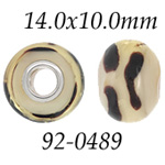 Zebra Print Glass Bead with Grommets: 14.0 mm x 10.0 mm Size