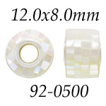 White Mosaic MOP Bead with Grommets: 12.0 mm x 8.0 mm Size