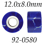 Synthetic Chilean Lapis Square Bead with 4.7 mm Hole: 12.0 mm x 8.0 mm Size